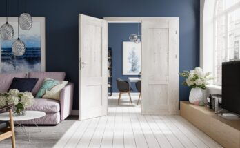 Drzwi dwuskrzydłowe do dużego salonu