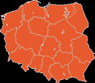 mapa polski pomarańczwa